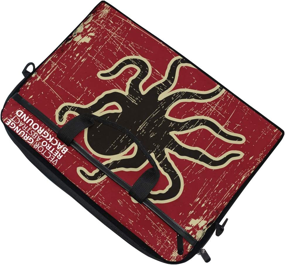 Retro Red Octopus Laptop Shoulder Messenger Bag Computer Briefcase Business Notebook Sleeve Cover Carrying Handle Bag for 14 inch to 15.4 inch