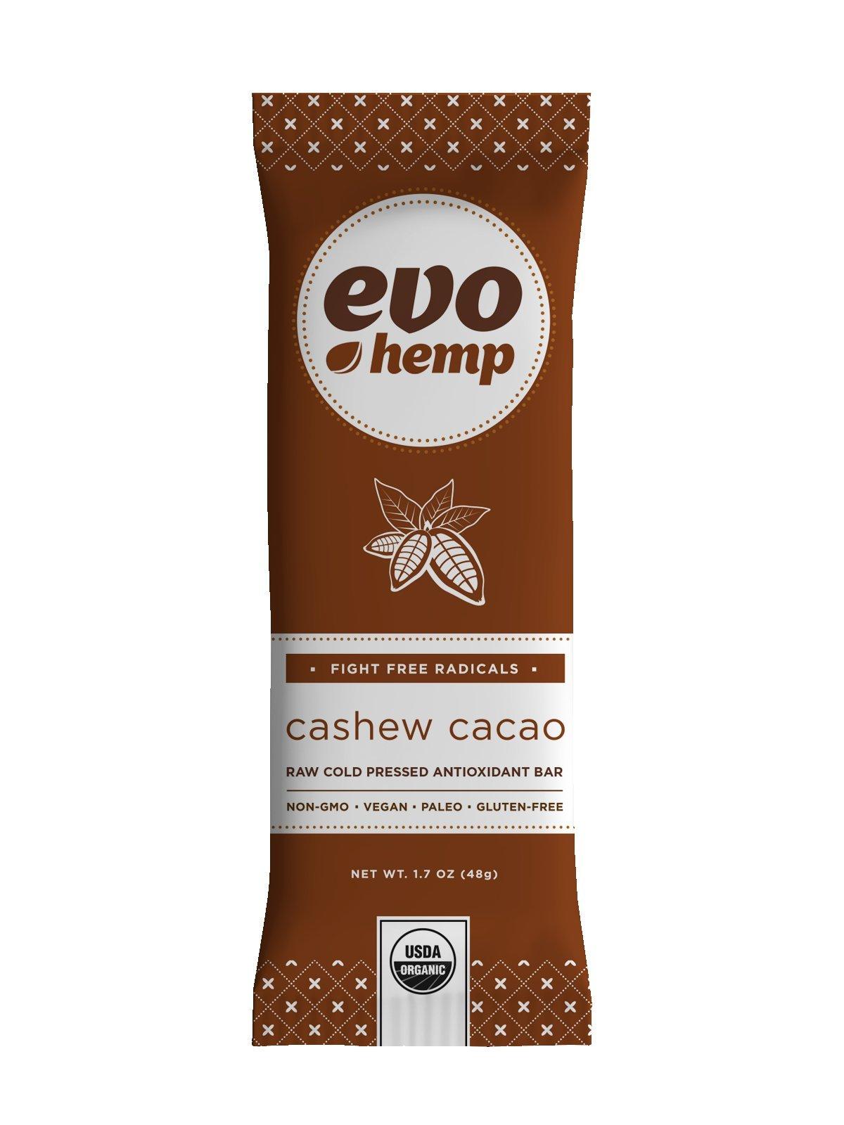 Evo Hemp - Cashew Cacao Plus Antioxidant Bar (Single Bar) - Power-Packed Healthy Snacks - Best Fruit and Nut Bars With Omega 3s, Hemp Protein and Fiber - 100% Organic Snacks With Amazing Taste