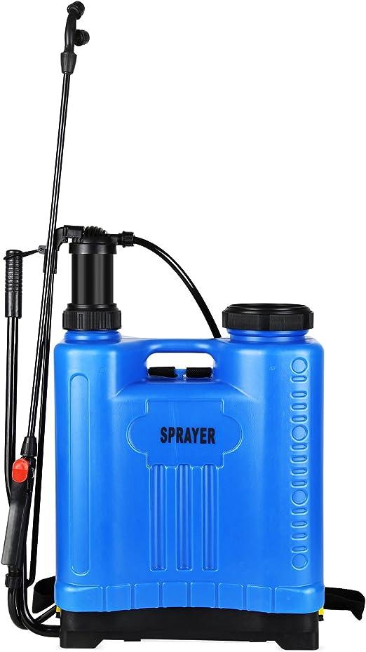 FIXKIT Pulverizador de Mochila Manual a Presión con Lanza de Jardinería Fumigador Pulverizador de Agua para Jardín - Plástico, Azul, 50 * 36 * 19cm, 20L, con Manguera 138cm: Amazon.es: Jardín