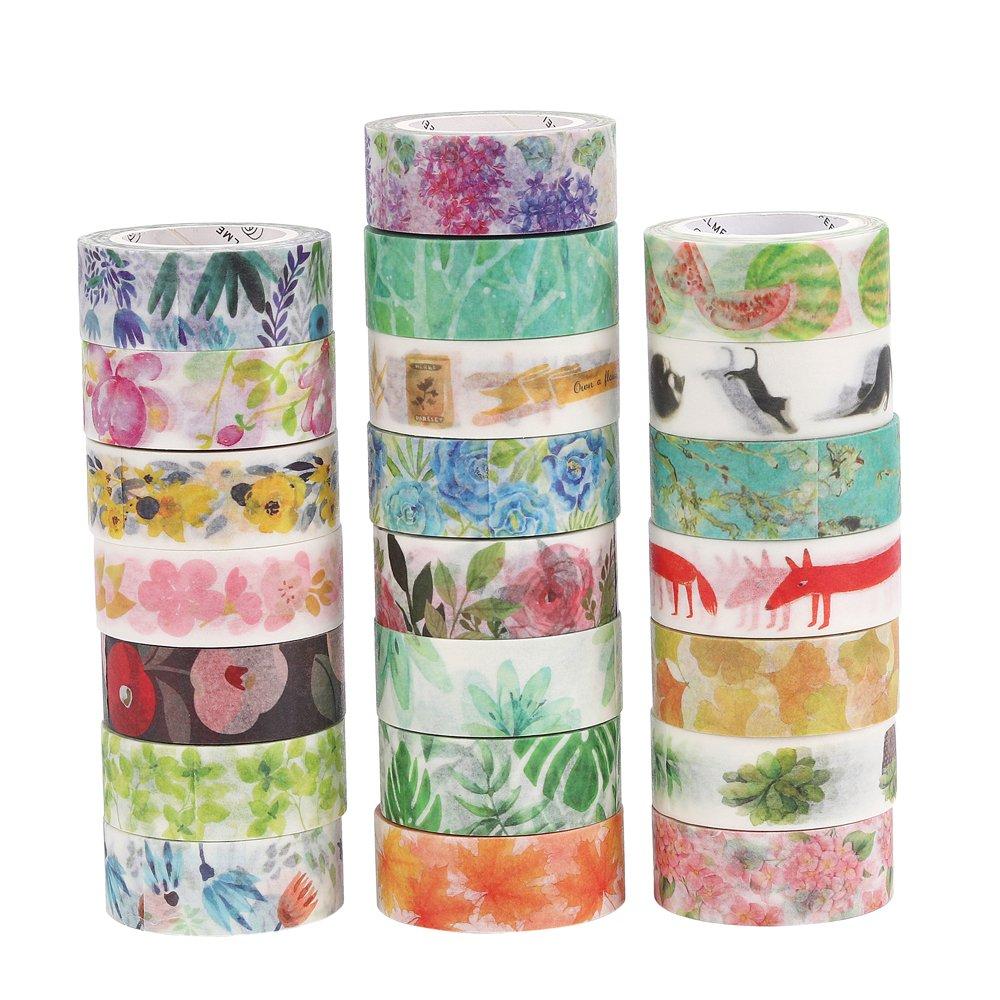 molshine Lot de 22 japonais Washi Décoratif Ruban adhésif de masquage - saisons Fleurs Série - Collection, (15 mm x 7 m, 1,5 cm x 7.6 m) pour DIY (wcl07): ...