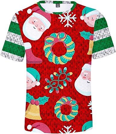 K-Youth Camiseta Hombre Navidad Ropa Adolescentes Chico 3D Estampado T Shirt Chandal Camisetas Manga Corta Hombre Deporte Camisas Hombres Tallas Grandes Blusa Mujer Navideños Top: Amazon.es: Ropa y accesorios