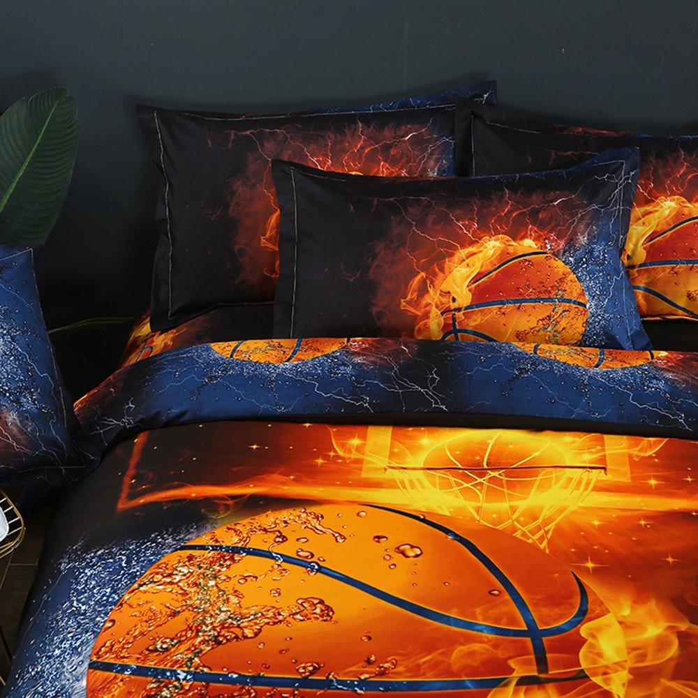 Stillshine Housse de Couette et Taie doreiller Parure de lit 3D Football Basketball Impression Enfant Gar/çon Les jeunes Parure de lit Simple Double King Basketball, 140x200cm