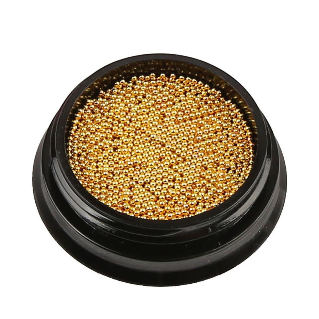 1 Box Gold Steel Bead 3D Round Nail Studs Nail Rhinestone Nail Art Decoration