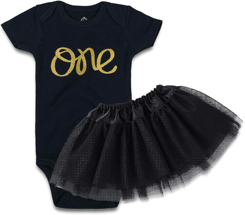 OPAWO Baby Infant Girl 1st Birthday 2 Pcs Outfits Bodysuit+Tutu Skirt Dress