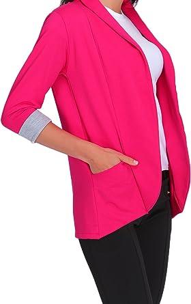Chaqueta Tipo Blazer para Mujer con Bolsillos y Mangas de 3//4-2501 FUTURO FASHION/®