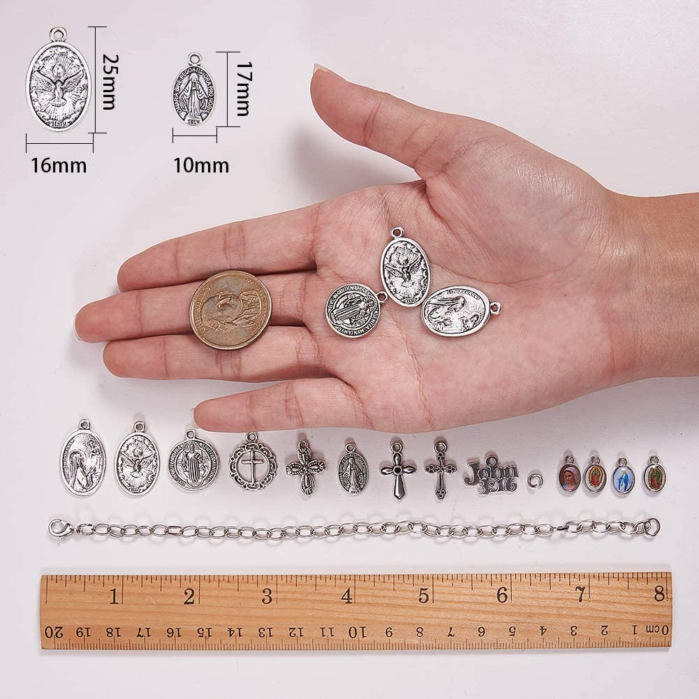 Antique Silver Adjustable SUNNYCLUE 1 Box DIY 6Strand Catholic Religious Medals Charm Chain Bracelet Making Kit Oval Mary Saint Benedict Cross Charms Pendants Jewelry Supplies for Beginners