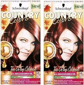 Schwarzkopf Colores Country Tinte Cabello Colores Col. 58 Grand Canyon Cobre Rojo X 2 Paquetes De
