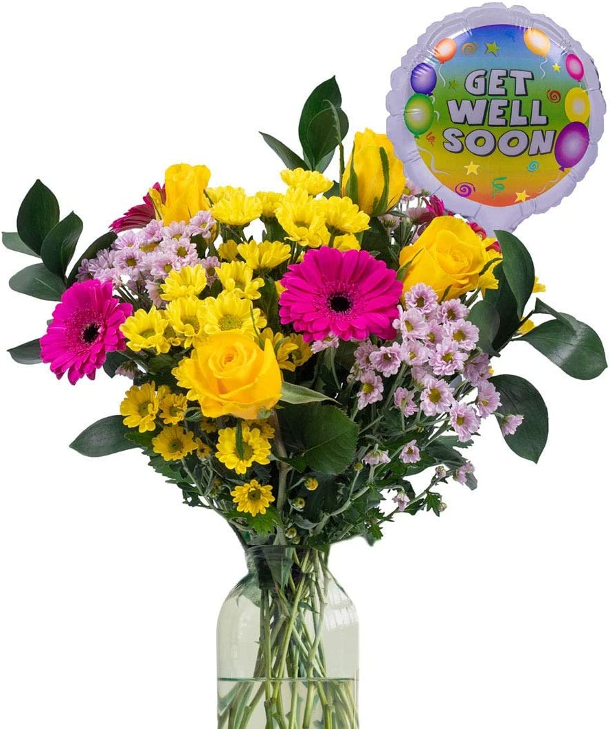 Fresh Flower Free Tracked Next Day Delivery Get Well Gift A Beautiful Bouquet With Get Well Balloon Say Get Well Soon To Someone You Care About With This Gorgeous Gift Amazon Co Uk Garden