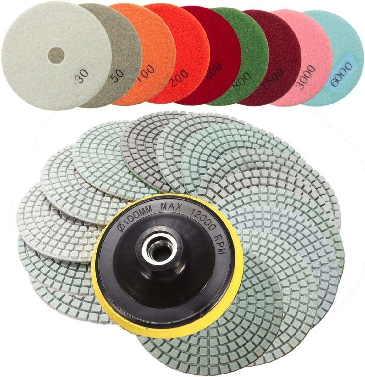 16 Uds almohadillas de pulido de diamante Kit 4 pulgadas 100Mm húmedo//seco para