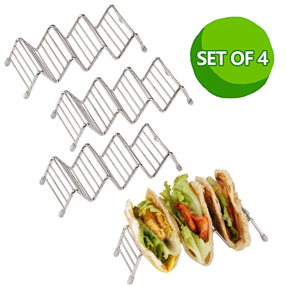 Disumos Stainless Steel 4 packs Taco Holders /Space for 12 to 16 Tacos Taco Holder, Taco Stand, Taco Rack, Premium 18/8 Stainless Steel, Taco Holders Hold 3 or 4 Hard or Soft Shell Tacos, Set of 4