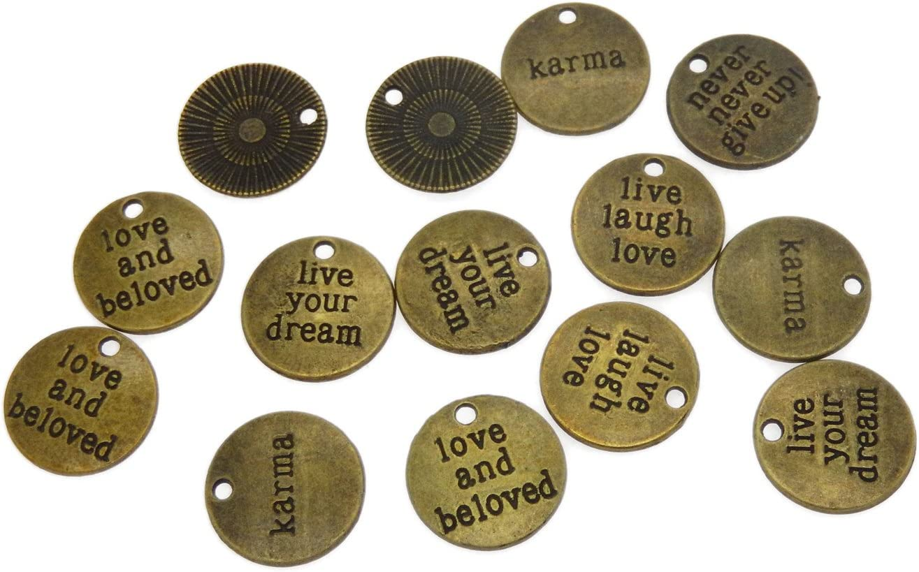 GraceAngie 20PCS Mixed Vintage Bronze Engraved Word Disc Charms Pendant for Jewelry Making