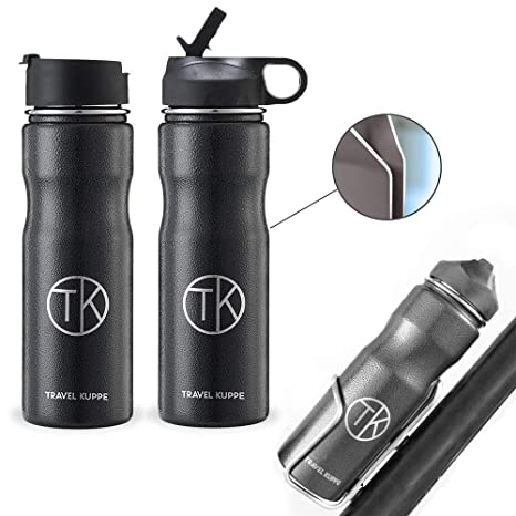a2ce9d67e3 Amazon.com : Travel Kuppe Vacuum Insulated Stainless Steel Cycling Sports Water  Bottle, Includes Both Straw and Sip Lid : Sports & Outdoors