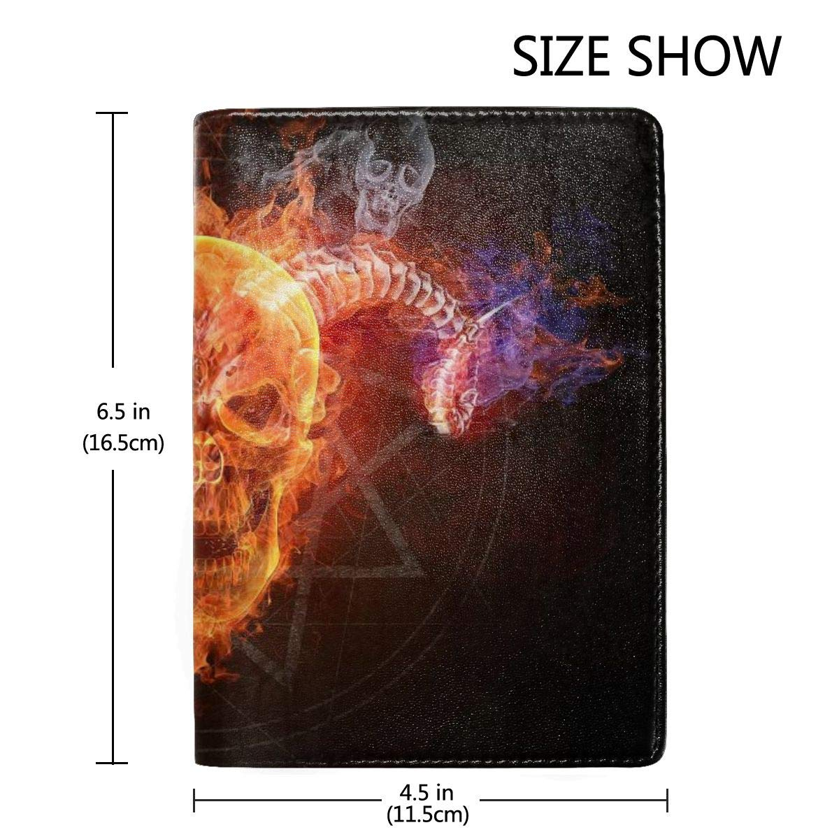 Flaming Skull Goat Fashion Leather Passport Holder Cover Case Travel Wallet 6.5 In
