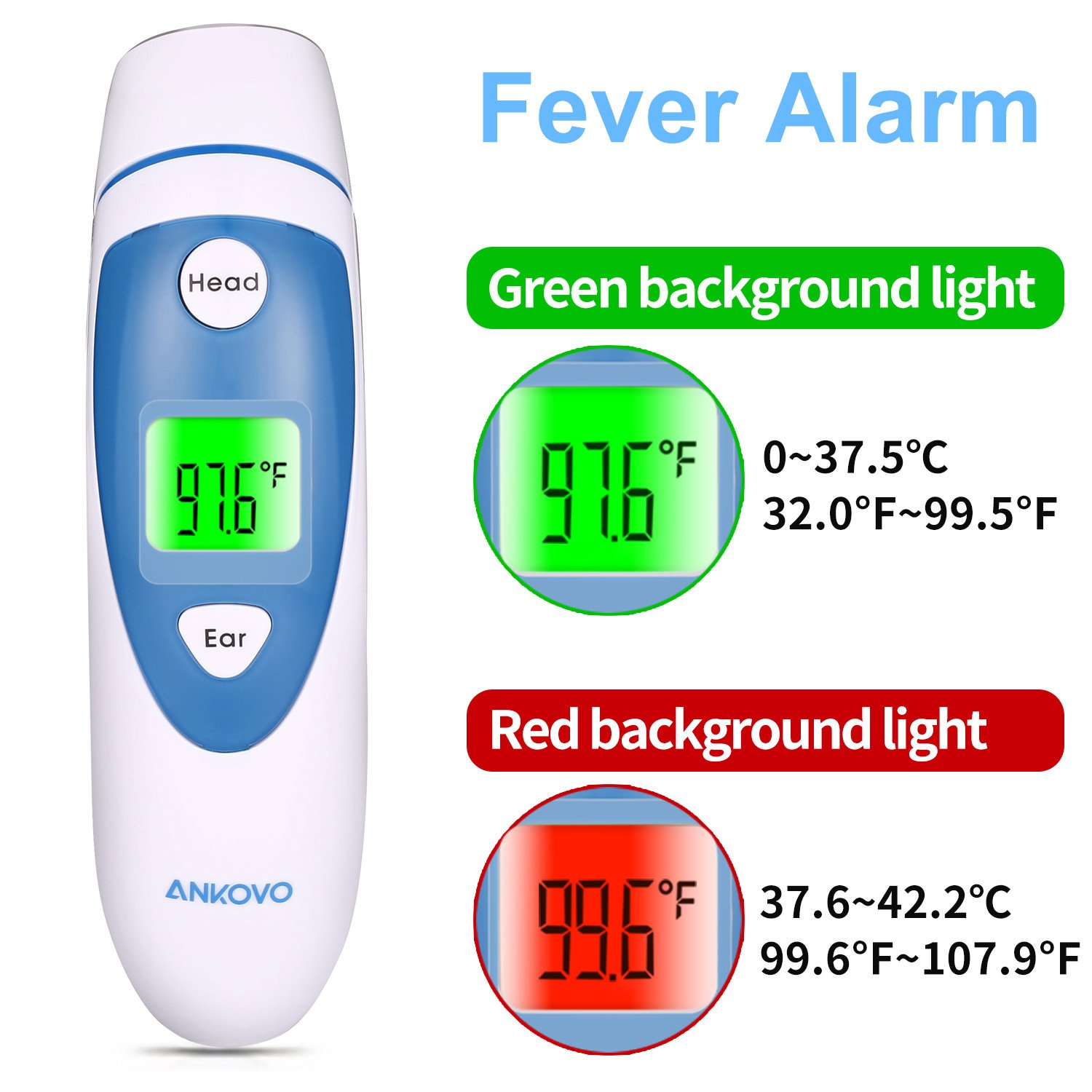 ANKOVO Thermometer For Fever Digital Forehead and Ear Thermometer Medical Infrared for Baby Kids Adults with Fever Indicator by ANKOVO (Image #5)