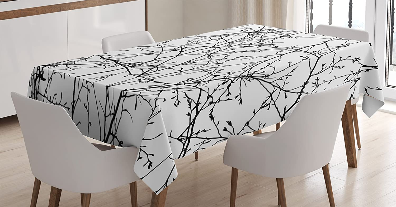 "Ambesonne Nature Tablecloth, Branches with Leaf Buds Springtime Woodland Countryside Nature Monochromic Design, Rectangular Table Cover for Dining Room Kitchen Decor, 60"" X 90"", White Black"