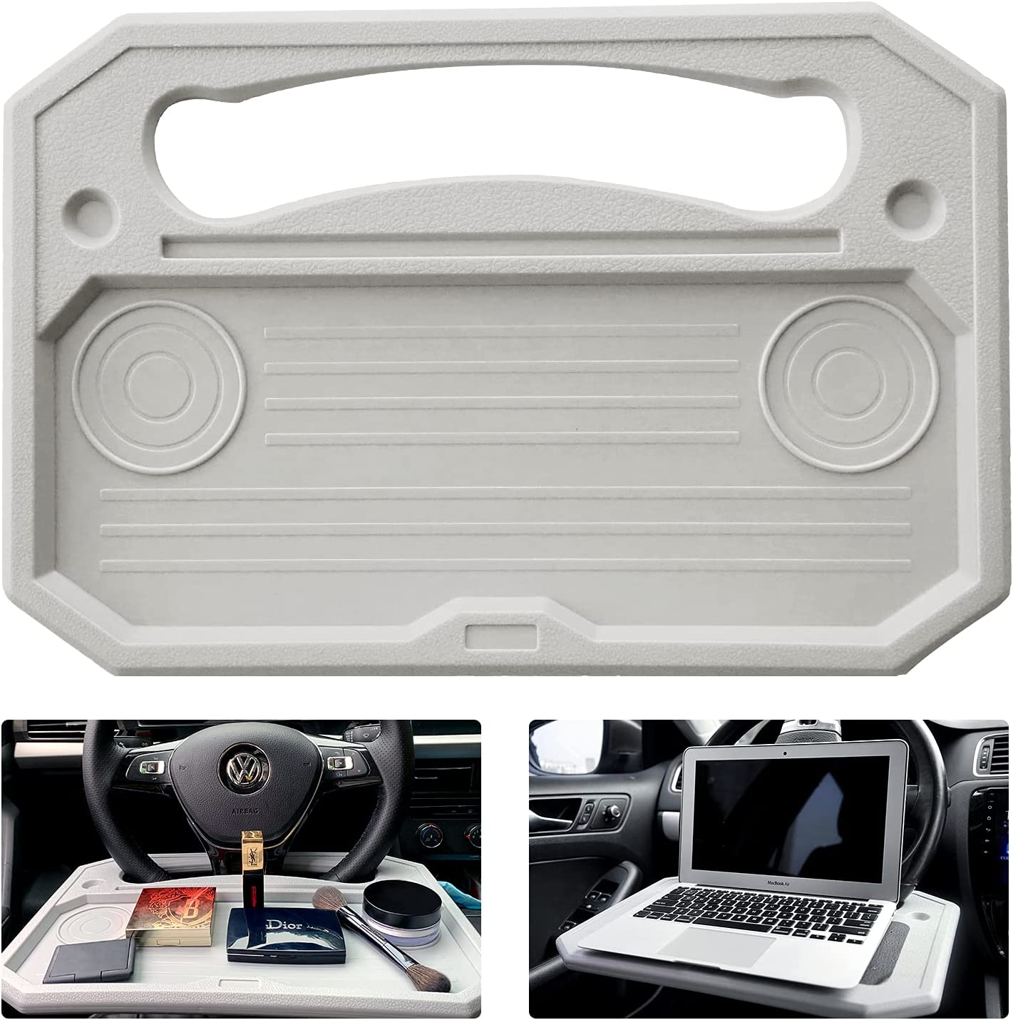 Matdology Car Tray Steering Wheel Table Auto Laptop Desk for Work, iPad, Notebook, Tablet, Food, Eating, Drink, Car Travel Table for Vehicle (Gray)
