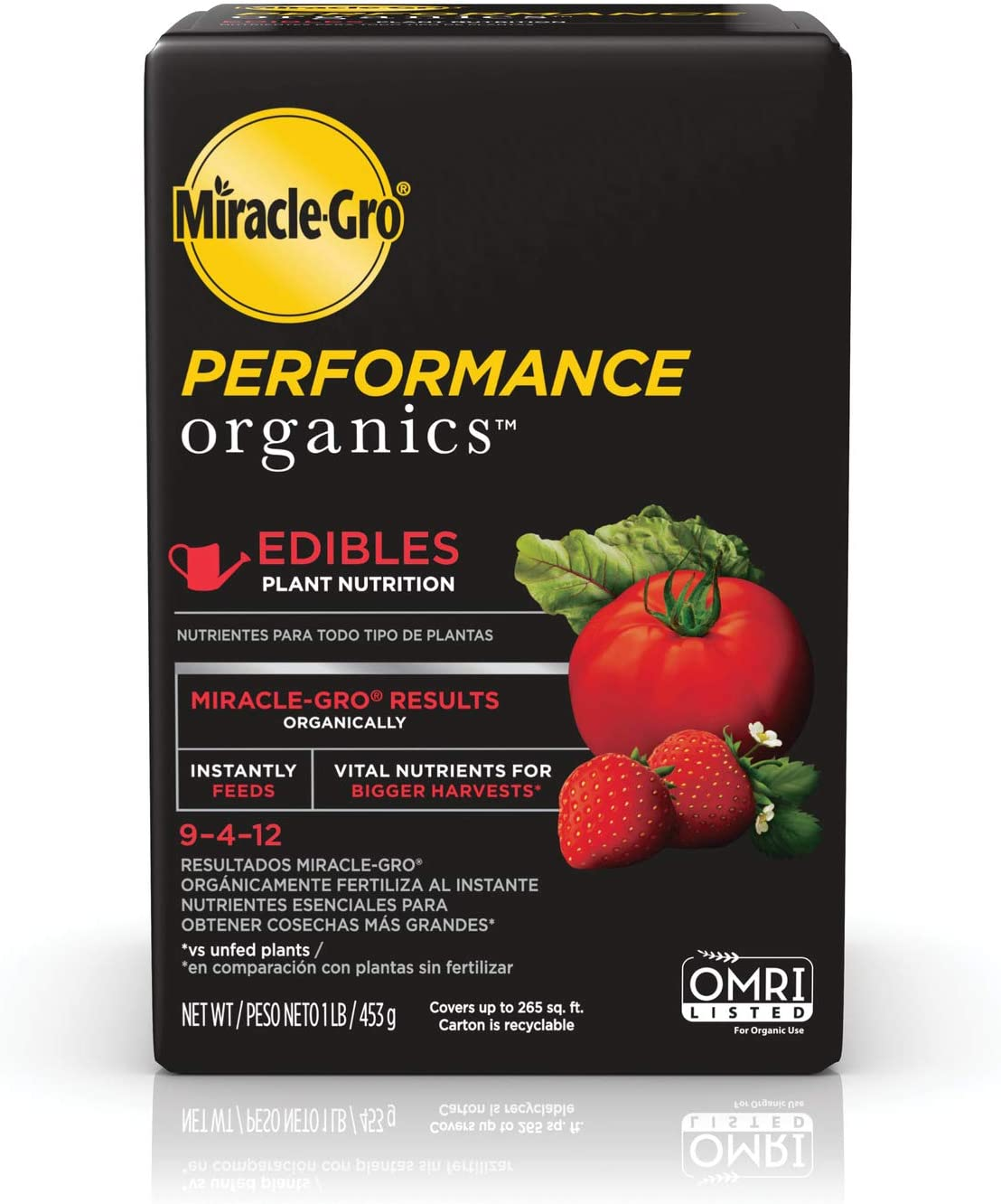 Miracle-Gro Performance Organics Edibles Plant Nutrition - Organic Plant Food Feeds Instantly, for Tomatoes, Vegetables, Herbs and Fruits, Promotes a Bountiful Harvest, 1 lb.