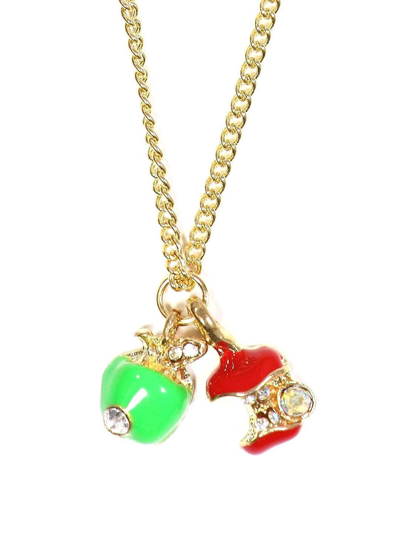 Magic Metal Crystal Apples Necklace Red Green Fruit Core Charm Pendant NO32 School Teacher