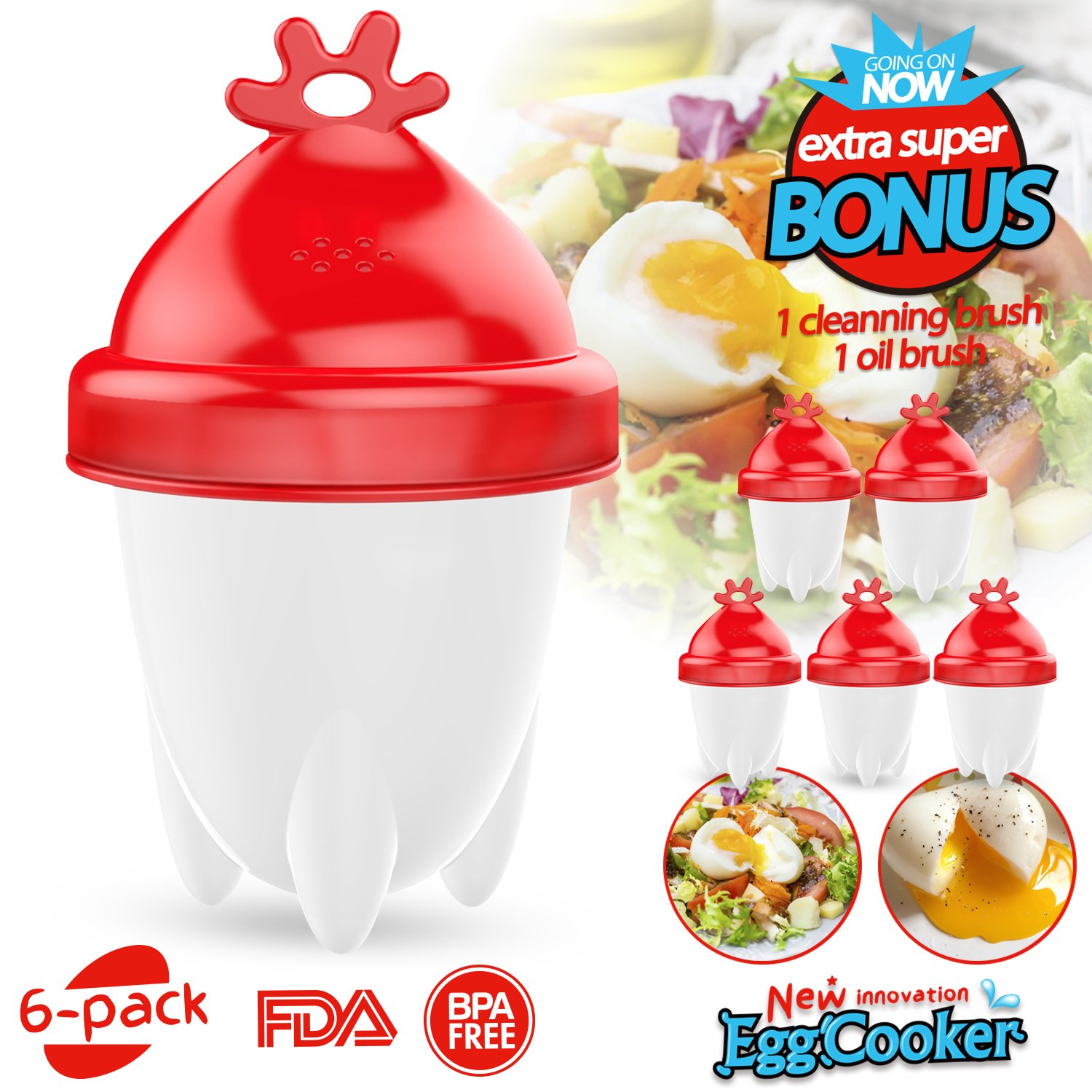 Egg Cooker, Hard & Soft Maker Egg Cooker New Vertion BPA Free Non Stick Silicone (6PACK), Great gift for her.