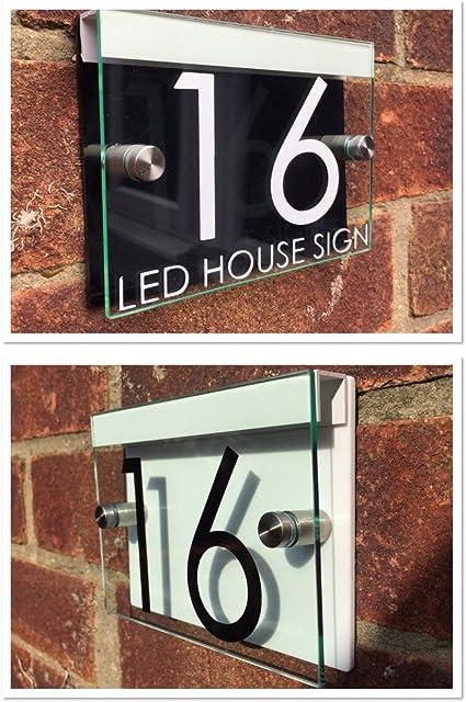 Moderne Maison Signe Plaque Porte Numéro Rue Aspect Verre Noir DEL Lumière solaire