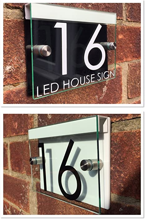 ADDRESS BUISNESS PLAQUE GLASS ACRYLIC OUTDOOR HOUSE SIGN MODERN DOOR NUMBER