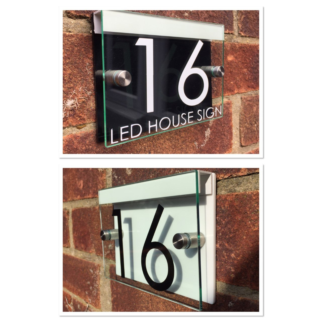Modern house sign plaque door number street glass acrylic black white led holder amazon co uk kitchen home