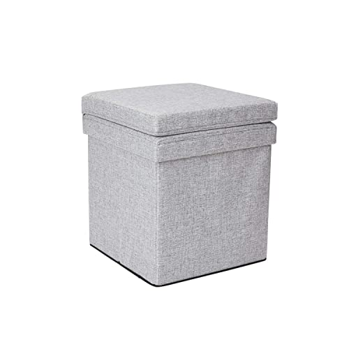 Dormify Collapsible Storage Ottoman Chair – Dorm Room Decor, Heather Grey