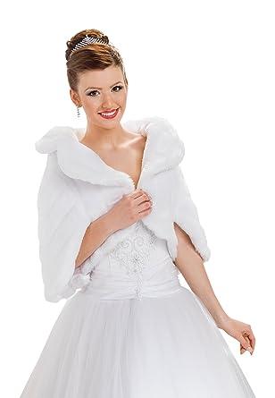 Wedding bridal prom bolero wrap jacket faux mink fur shrug cape full lined (Ivory): Amazon.co.uk: Clothing