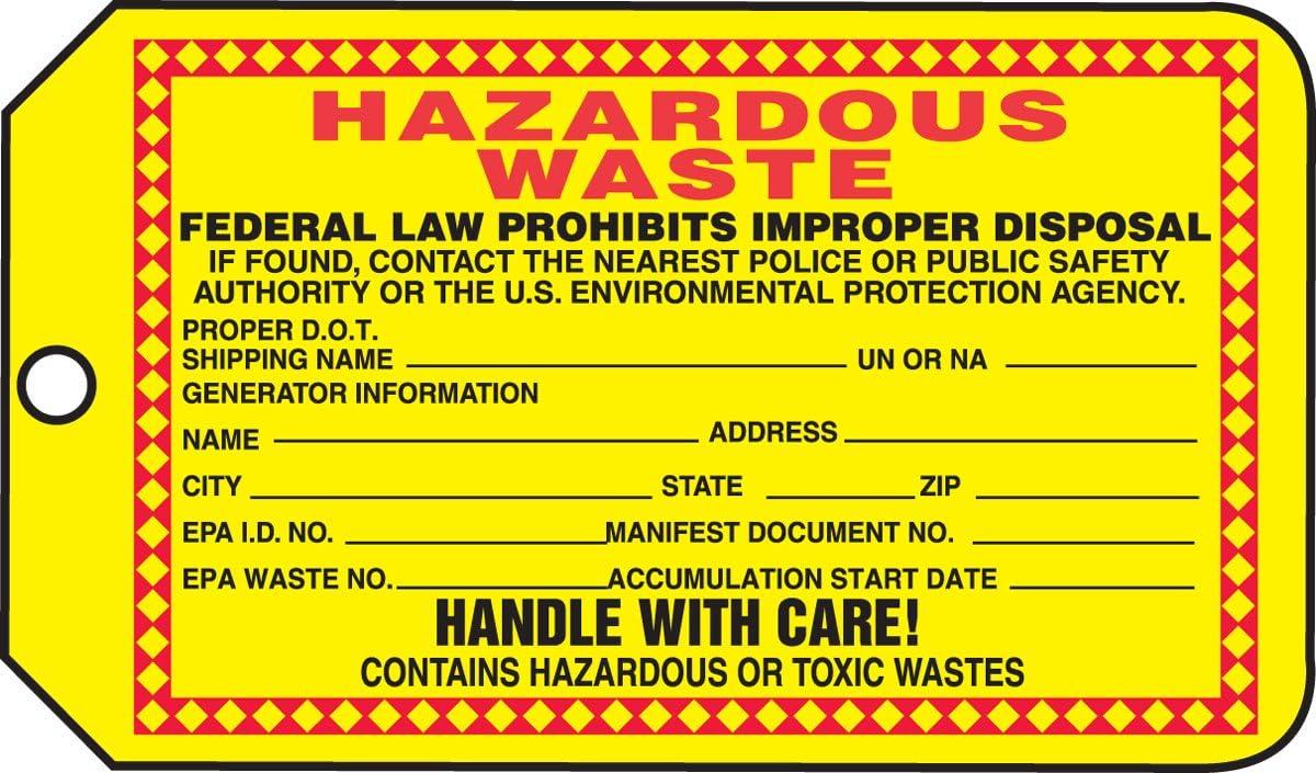 Accuform THS325PTP Safety Tags Specific Hazard HAZARDOUS WASTE … RP-Plastic 25 PK