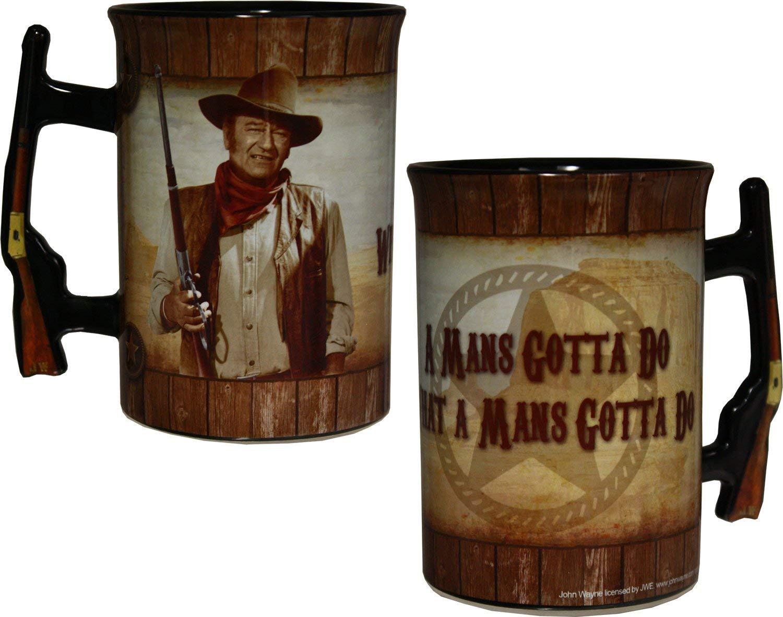 John Wayne 16oz Mug with Rifle Handle - ''A Man's Gotta Do...''
