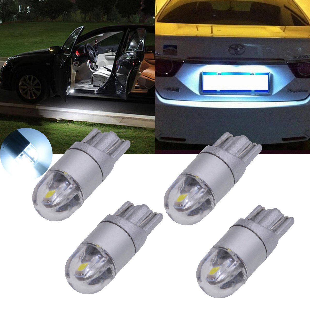 TUINCYN T10 W5W 194 3030-2-SMD Ice Blue LED Bulb 168 175 192 2825 Auto Interior Light Festoon Dome Light License Plate Lights Car Reverse Parking Lamp Side Markers Bulb (Pack of 10)