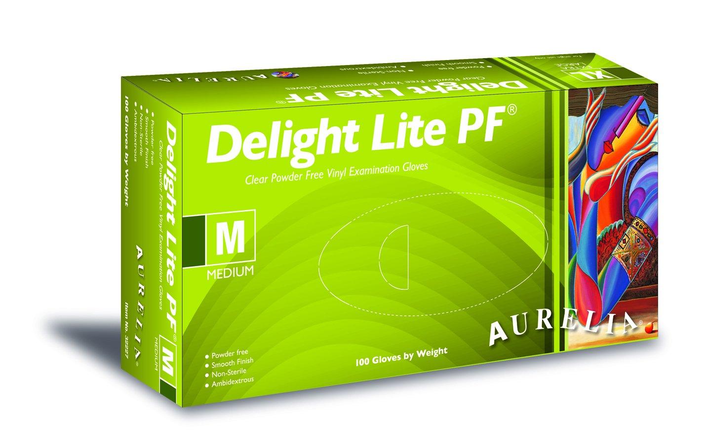 Medium 100/St/ück puderfrei Transparent SUPERMAX 32227/Aurelia Delight Lite Vinyl Handschuh
