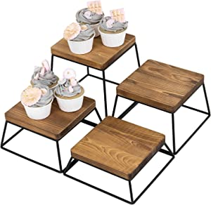 MyGift Burnt Wood & Black Metal Wire Square Retail Food Display Risers/Pizza Stands, Set of 4