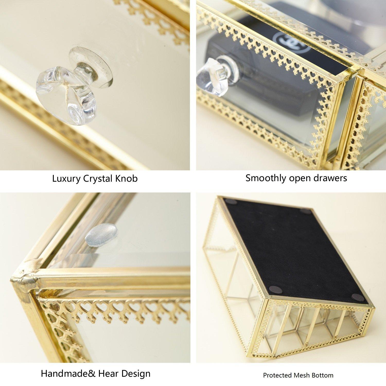 minopigo Antique Spacious Mirror Glass 6Drawers Vanity Tray Set/Gold Metal Cosmetic Makeup Storage/Stunning Jewelry Cube Organizer. It Consists of 4Separate Organizers Dustproof by minopigo (Image #6)