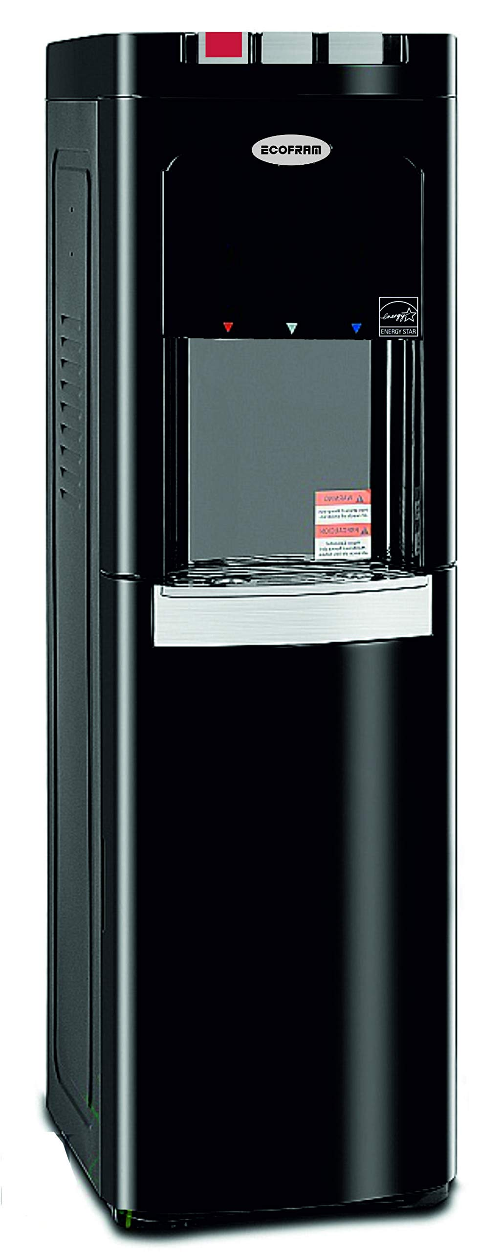 ECOFRAM Commercial Water Cooler, Tall Top Loading Hot, Cook and Cold Water Dispenser, Black & Stainless Still