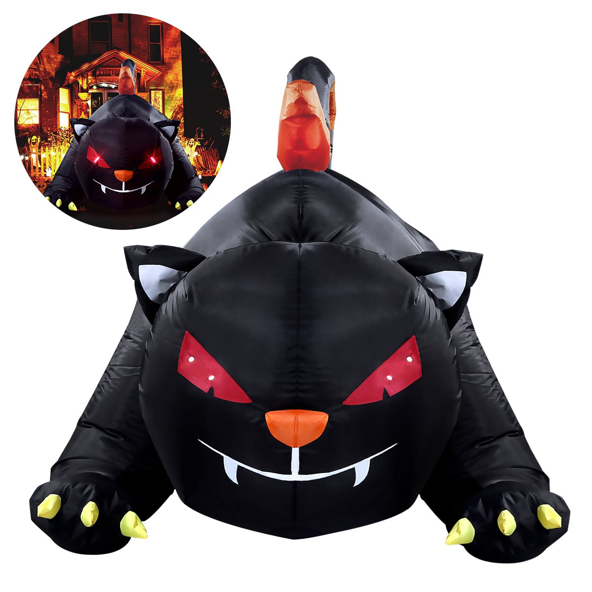 YUNLIGHTS 6X4 Foot Halloween Inflatable for Halloween Big Black Cat with LED lights Indoor and Outdoor Decorations