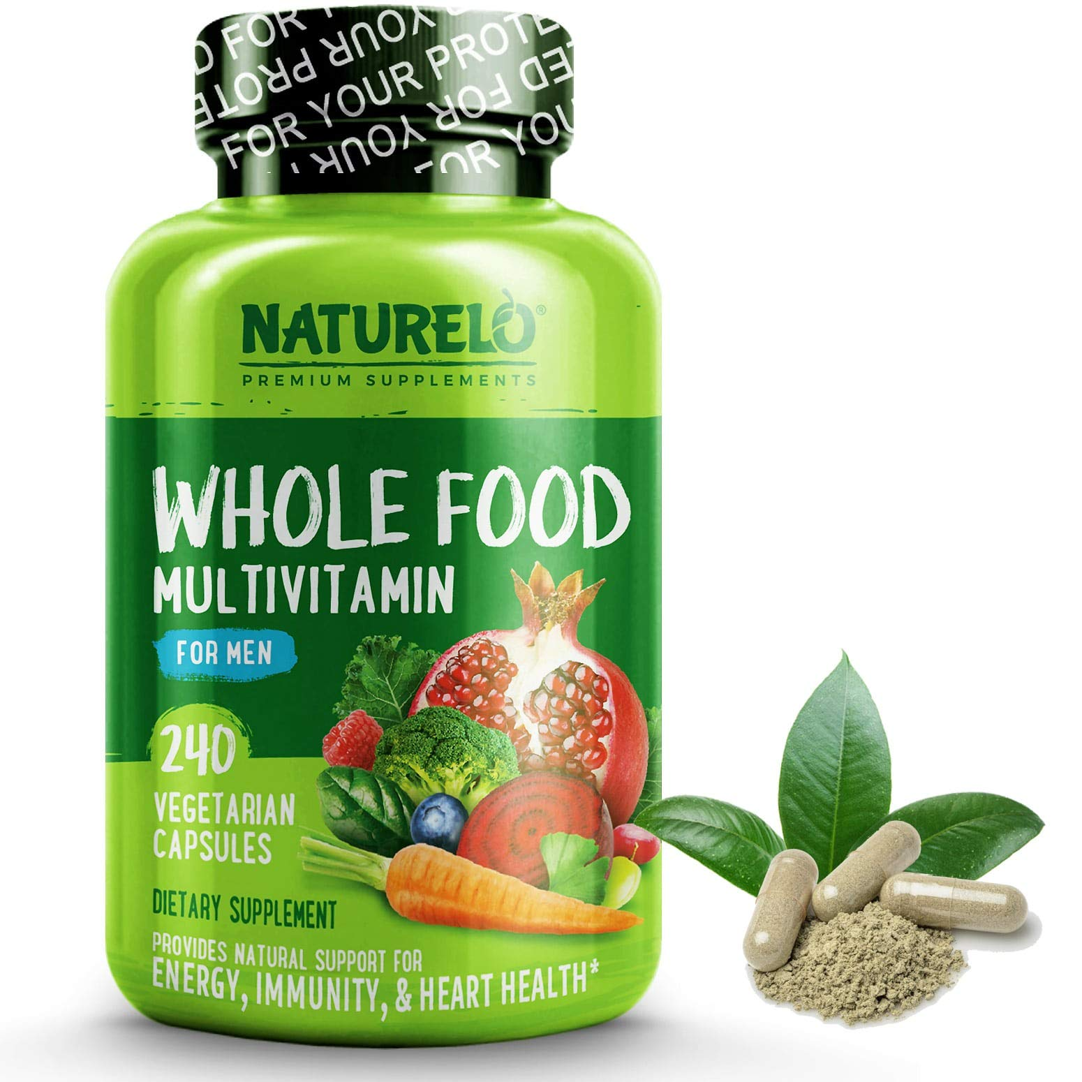 NATURELO Whole Food Multivitamin for Men - Vitamins, Minerals, Antioxidants, Organic Extracts - Vegetarian - for Energy, Brain, Heart, Eye Health - 240 Vegan Capsules