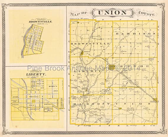 Union Franklin County Indiana Antique Map Baskin 1876 Original