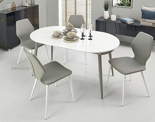 CARELLIA Conjunto mesa a comedor ovalada extensible + 4 sillas ...
