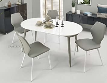 CARELLIA Set tavolo a pranzo ovale allungabile + 4 SEDIE: Amazon.it ...