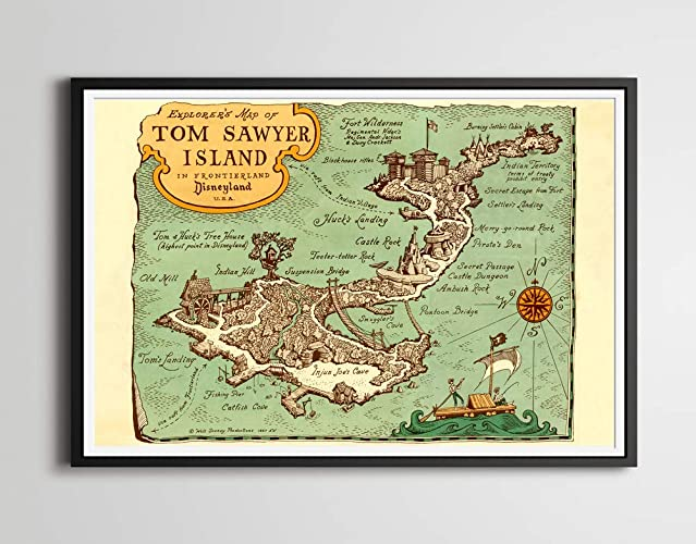 Disneyland Locations World Map.Amazon Com Disneyland S Tom Sawyer Island Poster 1957 Explorer S