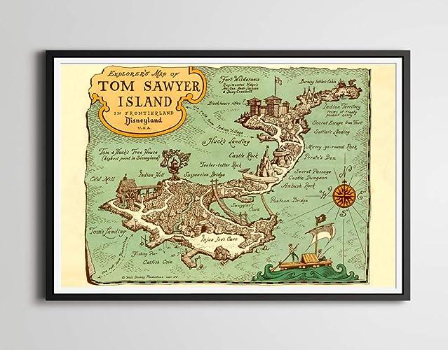 Amazon.com: Disneyland\'s Tom Sawyer Island POSTER! - 1957 Explorer\'s ...