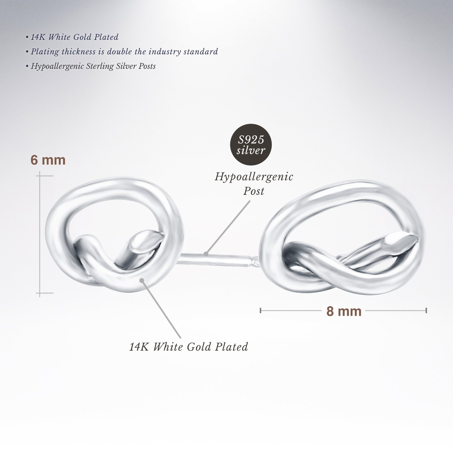 PAVOI 14K Gold Plated Infinity ''Forever Love'' Knot Stud Earrings - White by PAVOI (Image #2)