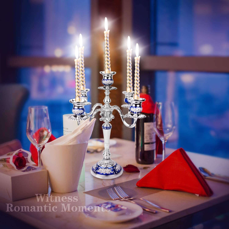 couleur bleu saphir argent artisanat pour le d/écor de maison de mariage de No/ël cadeaux de famille LUSUNT Cand/élabre Chandelier Bougeoir Alliage 32*36cm 3 bras d/îner aux chandelles