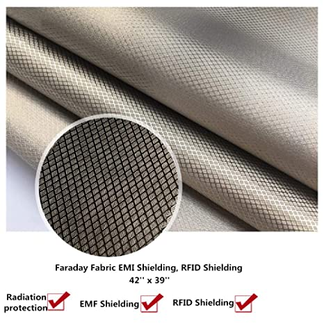 RFID EMF Shielding Nickel Copper Fabric,Emf Protection - Big Size - 39 X 42  inches - Radiation Protection - Block WiFi - EMF Shield - RFID - Anti