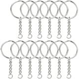 "Jmkcoz 100pcs 1""/25mm Metal Split Key Ring with Chain Silver Key Ring Keychain Ring Parts Open Jump Ring and Connector Accessories for DIY"