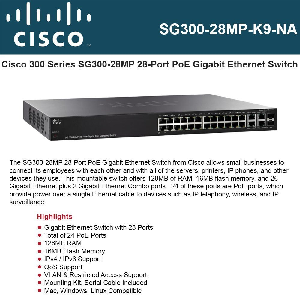 Cisco 28-Port Gigabit PoE Managed Switch (SG300-28MP-K9-NA) by Cisco