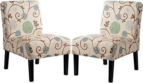 Upholstered Floral Accent Armless Chair, Living Room Chair Set of 2 by Harper Bright Designs