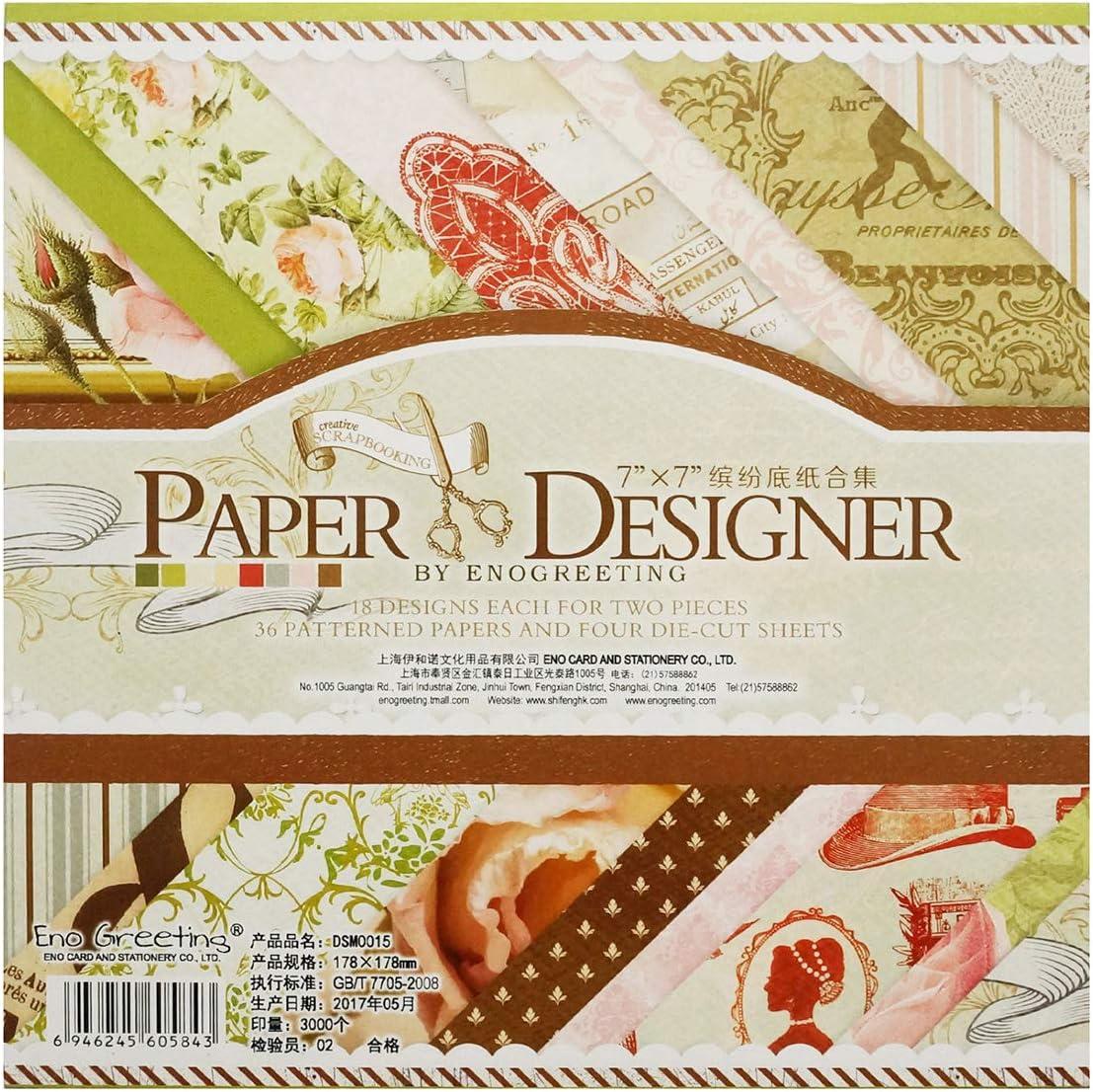 Gnognauq Album Carta Scrapbooking Fogli Carta Scrapbooking Decorativi Paper Cartoncini DIY Carta Decorativa Carta per Fai da Te Stile 8
