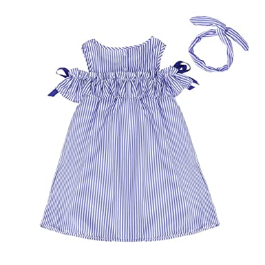 a5d8c4082214 Domybest Summer Dress Girls Sleeveless Stripe Ruffle Side Princess Casual  Party Dresses Headband Sets 1-